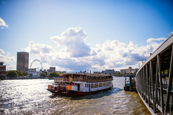 Wedding reception boat on River Thames