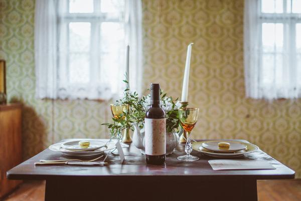 Rustic table set for two in old house
