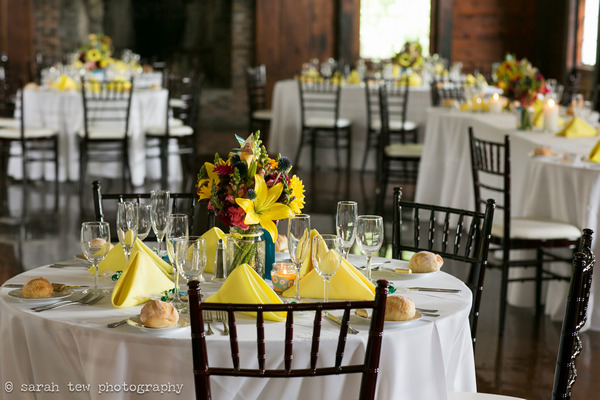Bright and bold wedding table styling