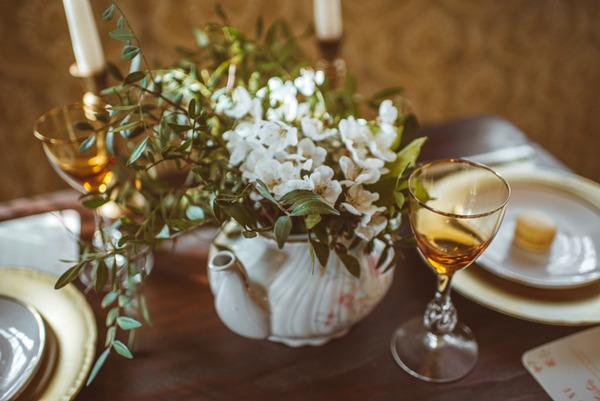 Rustic wedding flowers in vintage teapot