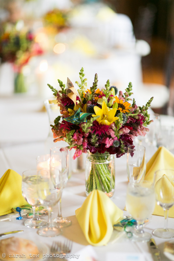 Wedding table flowers with pinwheel