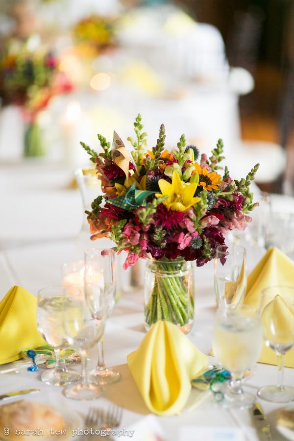 Wedding table flowers with pinwheel