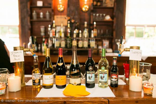 Bottles of wine in row