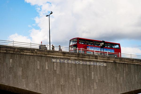 Bus going over Waterloo Bridge