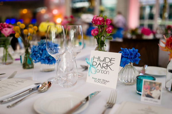 Wedding table with Hyde Park table name