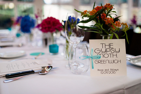 Wedding table with The Gypsy Moth table name