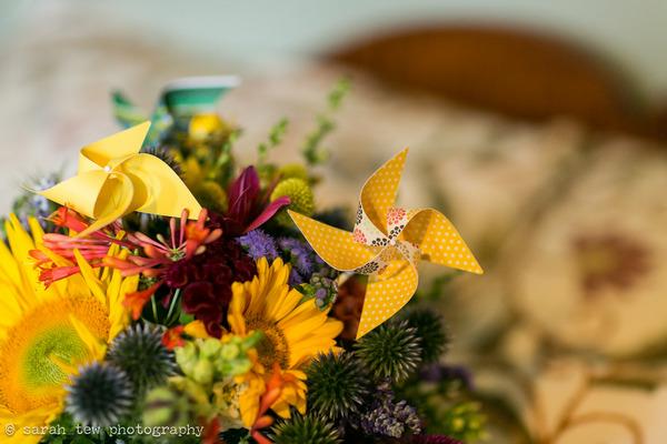 Pinwheel in wedding bouquet