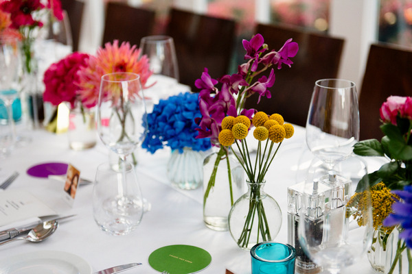 Colourful wedding table flowers