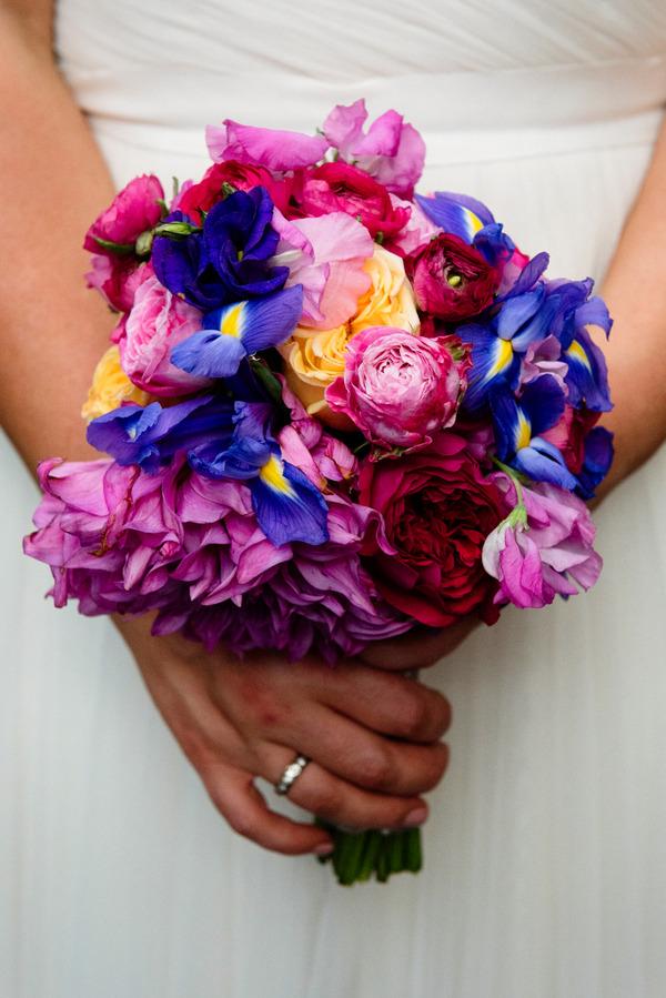 Bright, colourful bridal bouquet