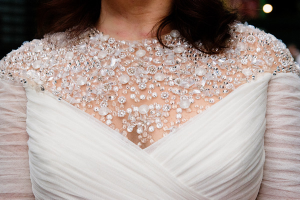 Detail on bride's wedding dress