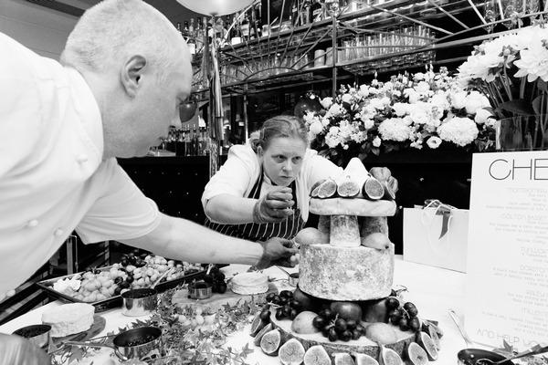 Wedding caterers preparing food