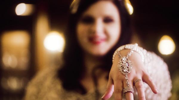 Bride showing hand jewellery