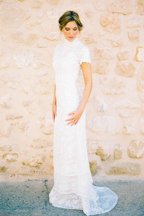 Odile Full Length Wedding Dress with Collar - Luella's 2016 Bridal Collection