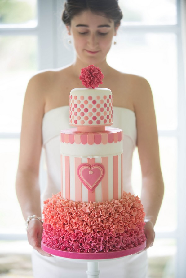 Pink and White Wedding Cake from Simply Modern Wedding Cakes