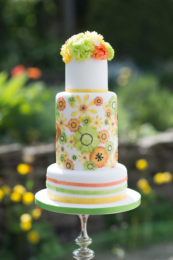 Green, orange and yellow wedding cake from Simply Modern Wedding Cakes