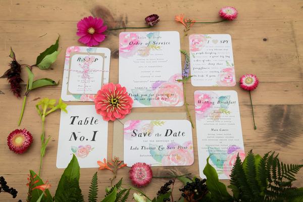 Bright, floral wedding stationery