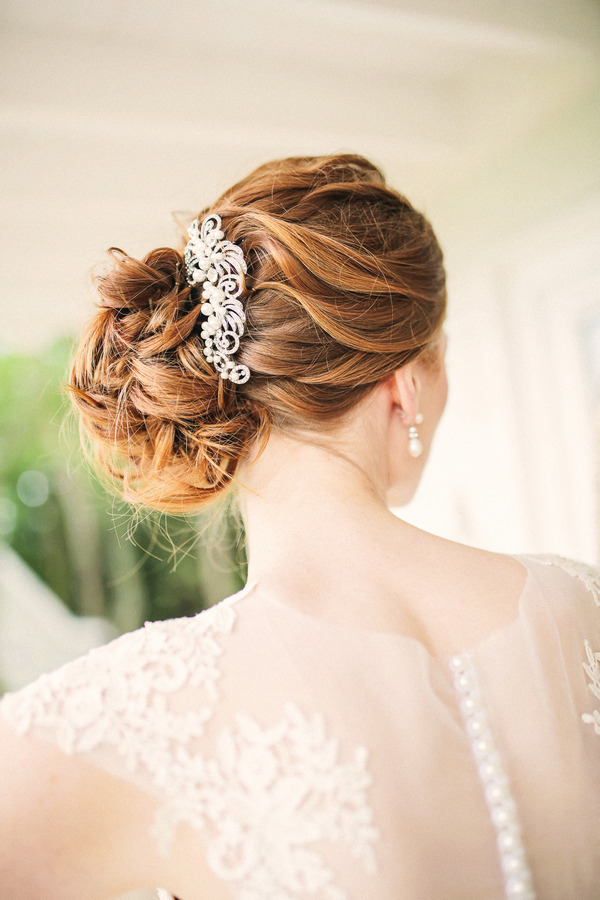 Hair clip in bride's updo