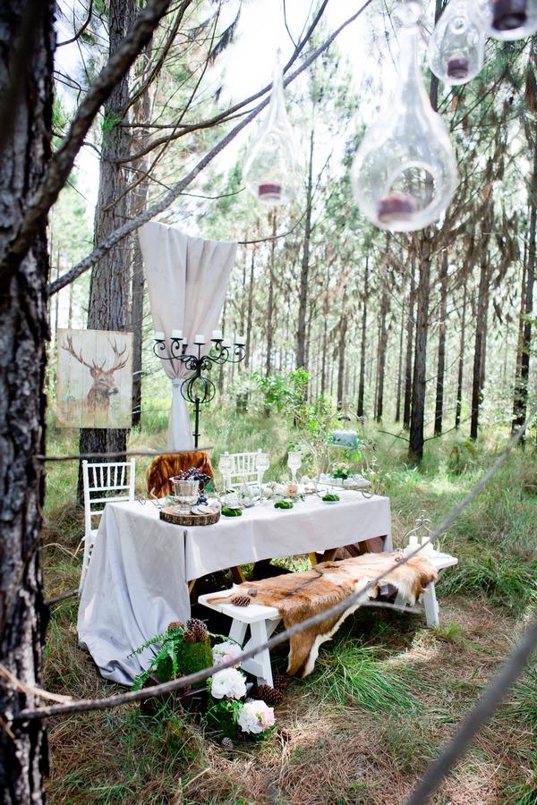 Wedding table in woodland