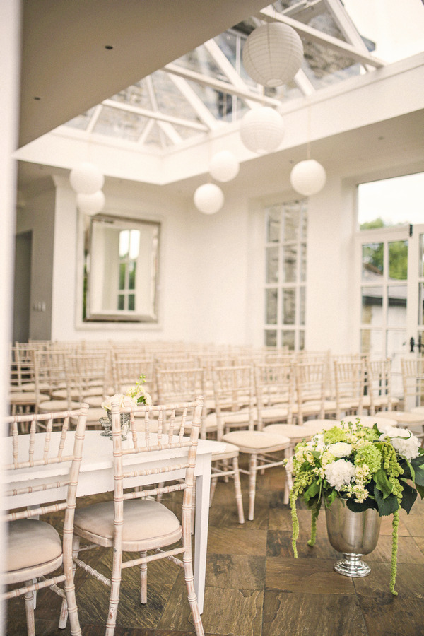 Wedding ceremony seating in Woodhill Hall