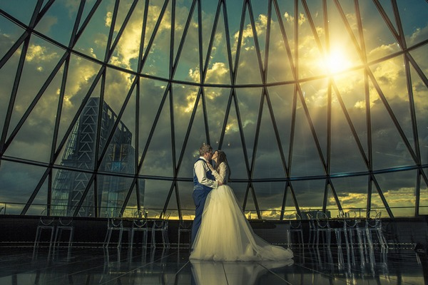Bride and groom at the top of The Gherkin - Picture by Sean Gannon Photography