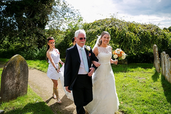 Father walking bride to church