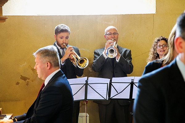 Trumpet players in church for wedding