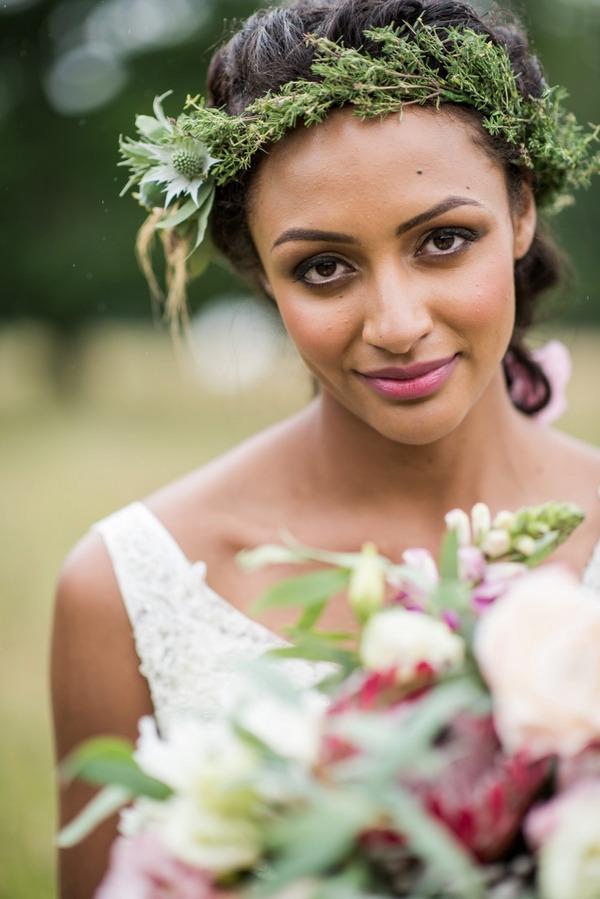 Bride with rustic flower crown
