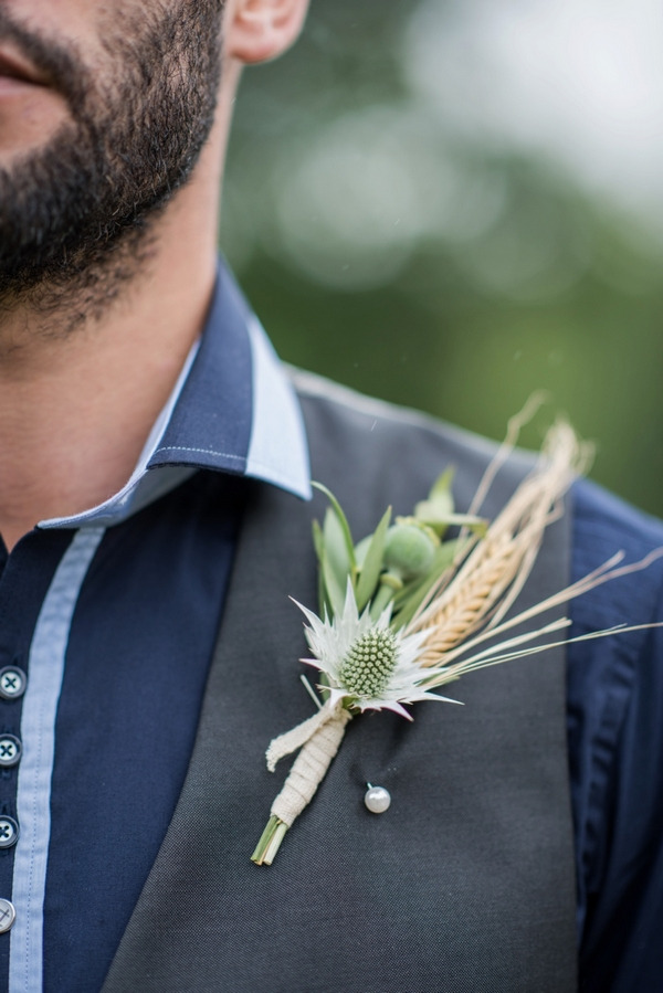 Groom's rustic thistle buttonhole