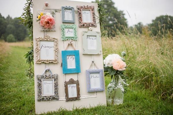 Picture frame wedding seating plan