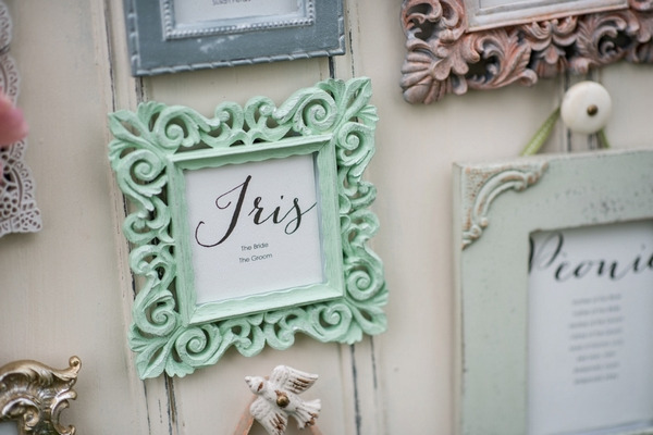 Green picture frame on wedding seating plan