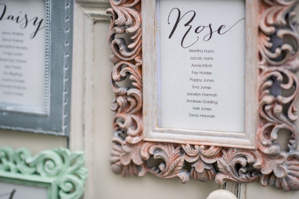Rustic picture frame on wedding seating plan