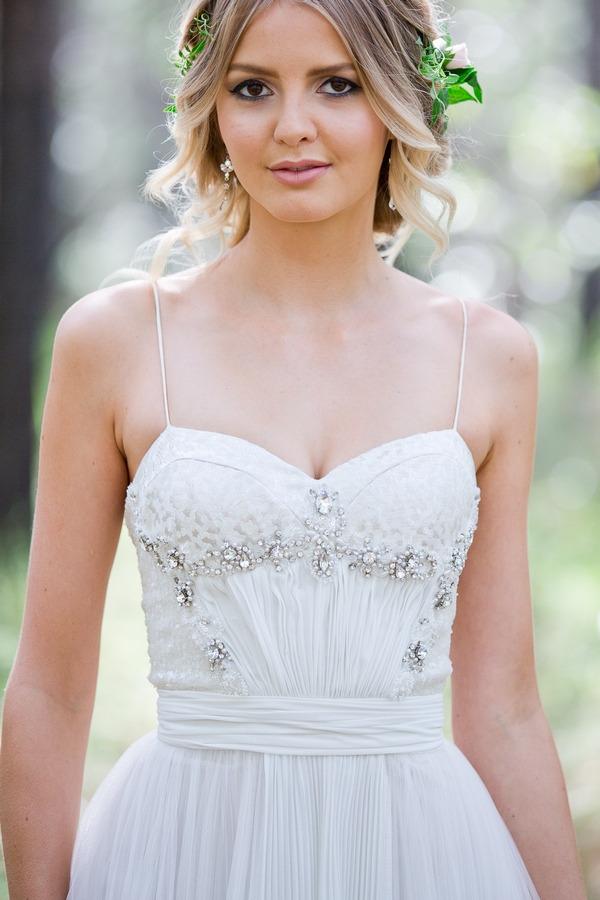 Detail on bride's wedding dress