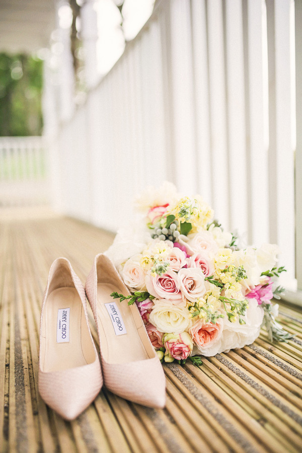 Jimmy Choo wedding shoes and bouquet
