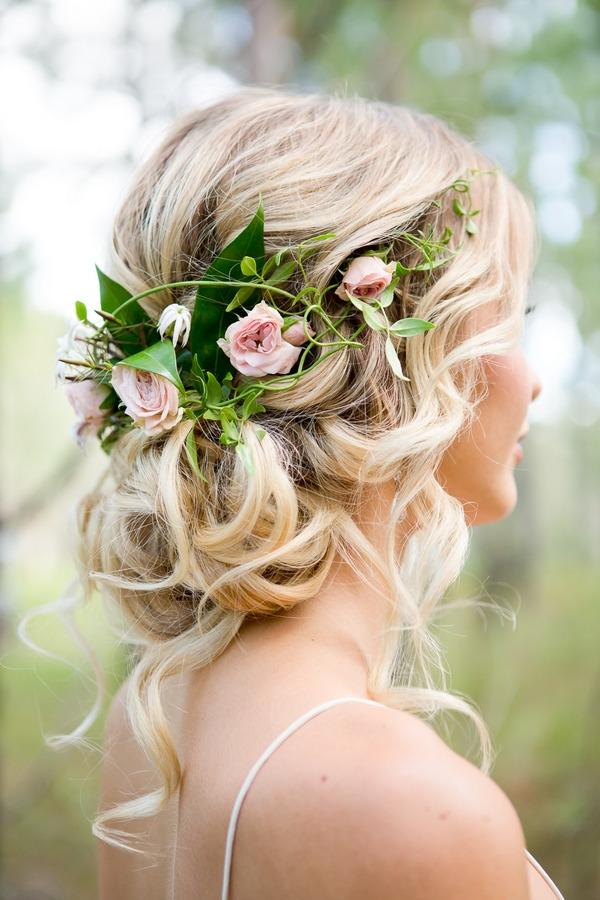 Bride's floral hairpiece