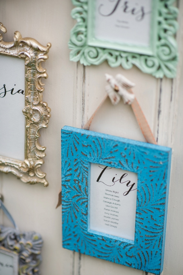 Bright blue picture frame on wedding seating plan