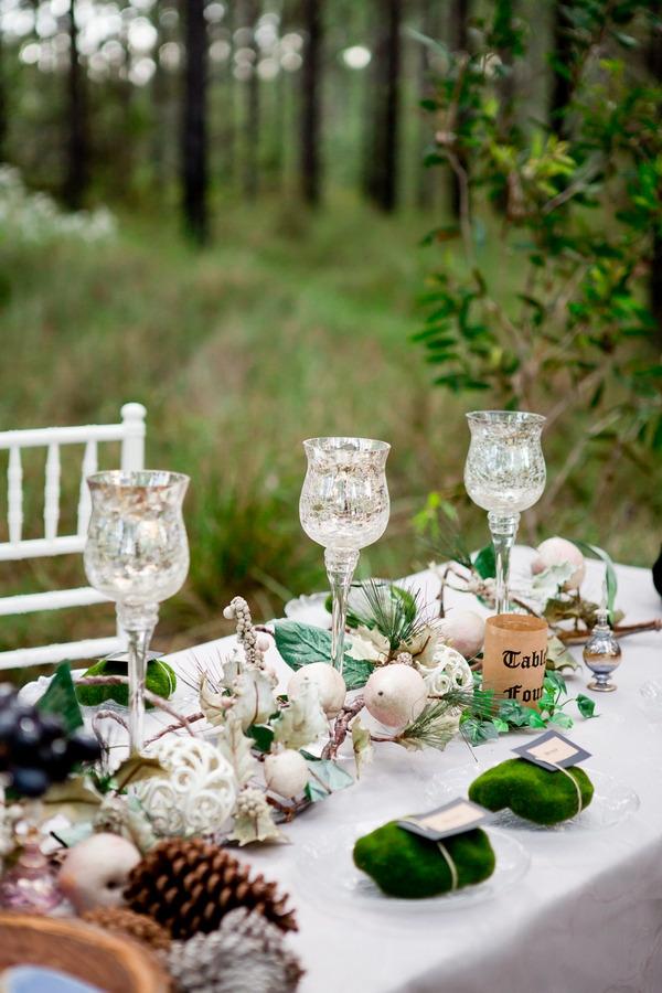 Woodland wedding table styling
