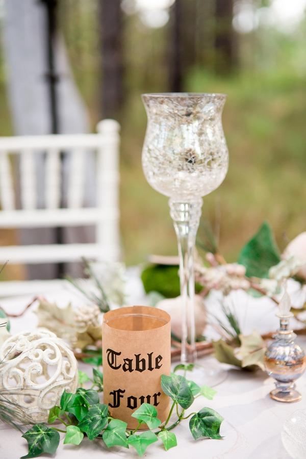 Glass on wedding table