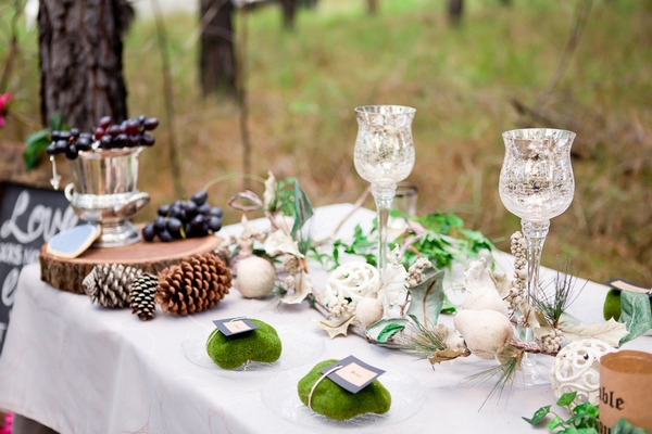 Rustic woodland wedding styling