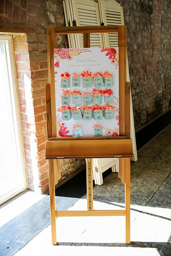 Colourful wedding table plan