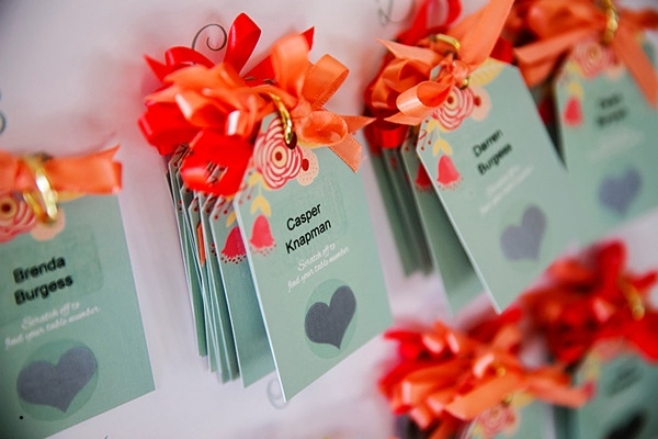 Duck egg blue and orange cards on wedding table plan