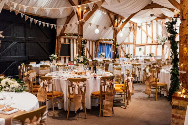 Rustic wedding table styling for Christmas wedding at South Farm, Royston