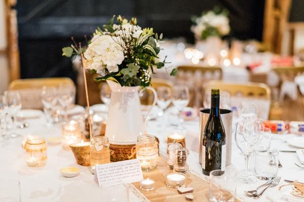 Wedding table flowers in jug
