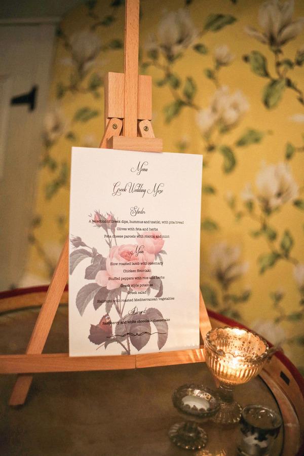 Wedding menu on easel