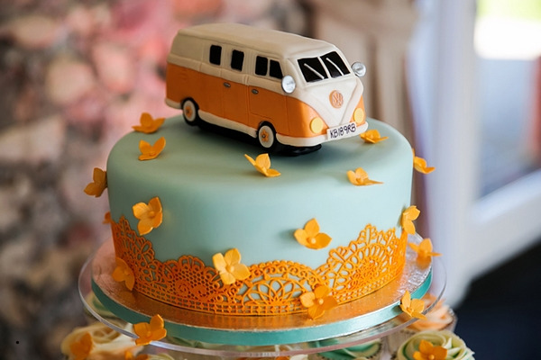 VW campervan wedding cake topper