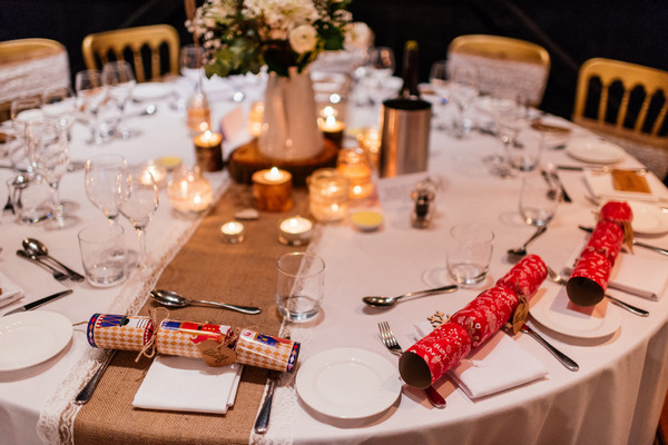 Christmas crackers on wedding table