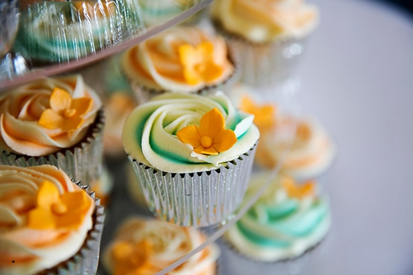 Blue and orange wedding cupcakes