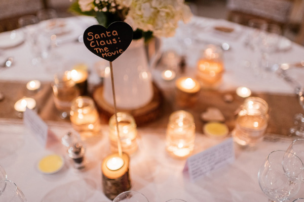 Tea lights on wedding table