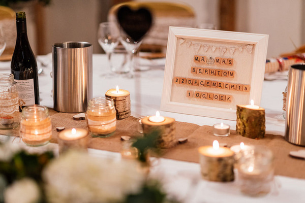 Rustic wedding table styling for Christmas wedding