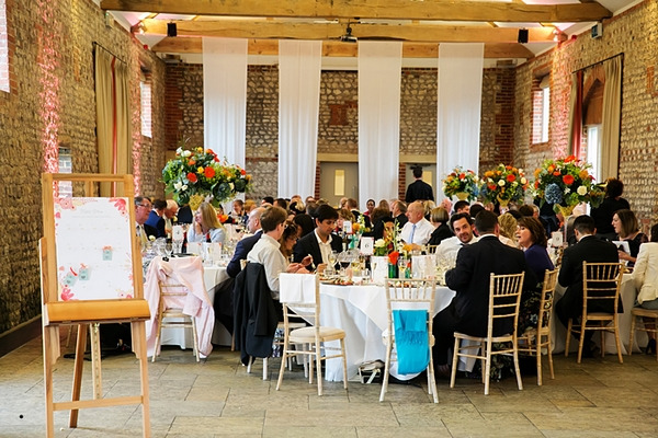 Wedding breakfast at Farbridge wedding venue