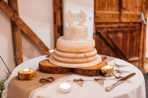 Wedding cake with wooden topper